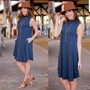 NEW Navy Mock Dress w/ pockets